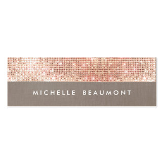 Fun Beauty and Fashion Chic Faux Copper Sequin Pack Of Skinny Business Cards