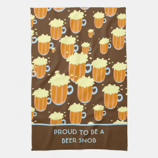 Fun Beer Snob Pattern on Brown and Blue Kitchen Towel