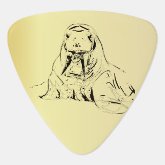 Fun Beige Hand Drawn Walrus Digitized Pick