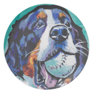 FUN Bernese Mountain Dog pop art painting Plate