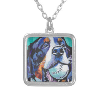 FUN Bernese Mountain Dog pop art painting Silver Plated Necklace