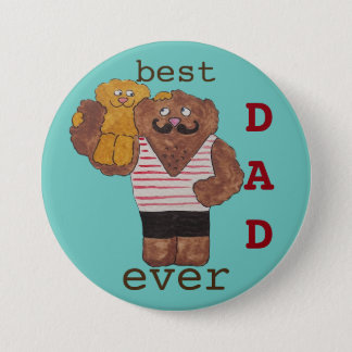 Fun Best Dad Ever Circus Strongman Daddy Bear 3 Inch Round Button