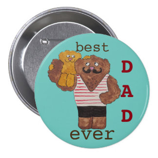 Fun Best Dad Ever Circus Strongman Daddy Bear 3 Inch Round Button