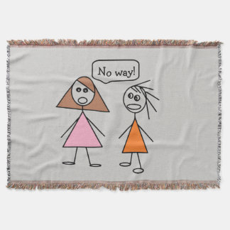 Fun Besties Stick Figure Girlfriends Gossiping Throw Blanket