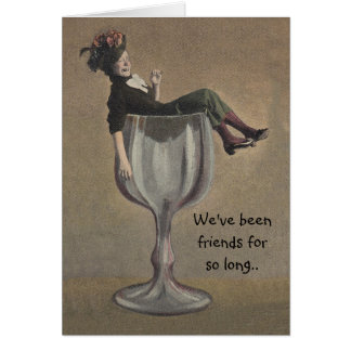 Fun BFF note Card Bad influence party girl Wine