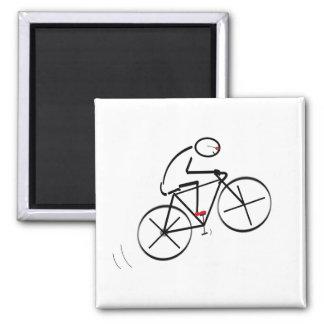 Fun Bicyclist Design Square Magnet