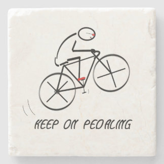 """Fun Bicyclist Design with """"Keep On Pedaling"""" text Stone Coaster"""