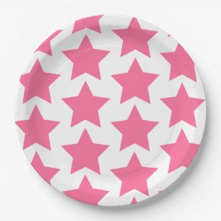 Fun, big hot pink stars pattern - Paper Plates