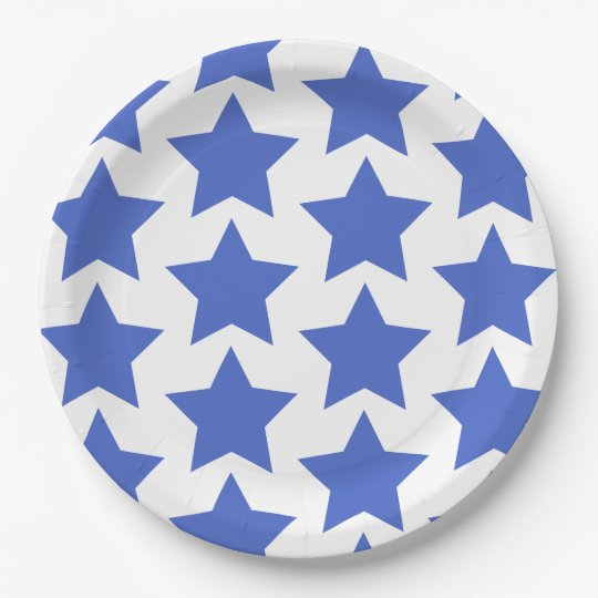 Fun, big navy blue stars pattern - Paper Plates 9 Inch Paper Plate