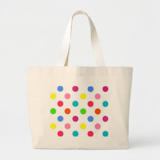 Fun big polka dots red yellow green pink orange canvas bags
