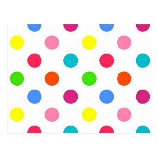 Fun big polka dots red yellow green pink orange postcard