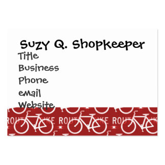 Fun Bike Route Fixie Bicycle Cyclist Pattern Red Pack Of Chubby Business Cards