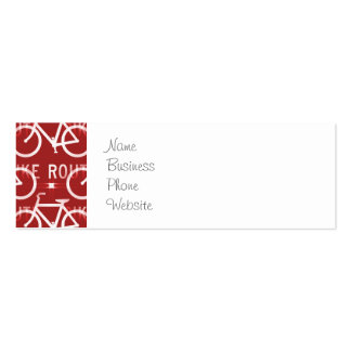 Fun Bike Route Fixie Bicycle Cyclist Pattern Red Double-Sided Mini Business Cards (Pack Of 20)