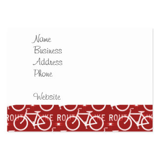 Fun Bike Route Fixie Bicycle Cyclist Pattern Red Business Cards