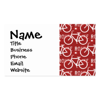 Fun Bike Route Fixie Bicycle Cyclist Pattern Red Business Card Template
