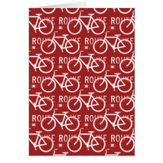 Fun Bike Route Fixie Bicycle Cyclist Pattern Red Greeting Card