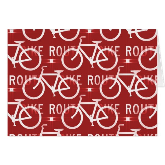 Fun Bike Route Fixie Bicycle Cyclist Pattern Red Card