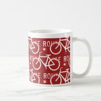 Fun Bike Route Fixie Bicycle Cyclist Pattern Red Classic White Coffee Mug