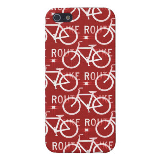 Fun Bike Route Fixie Bicycle Cyclist Pattern Red Covers For iPhone 5