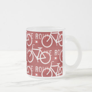 Fun Bike Route Fixie Bicycle Cyclist Pattern Red Coffee Mugs