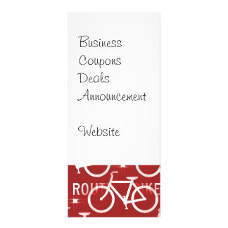 Fun Bike Route Fixie Bicycle Cyclist Pattern Red Rack Card Template