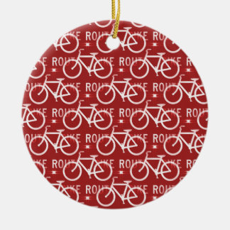 Fun Bike Route Fixie Bicycle Cyclist Pattern Red Round Ceramic Ornament