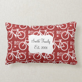 Fun Bike Route Fixie Bicycle Cyclist Pattern Red Throw Pillow
