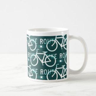 Fun Bike Route Fixie Bike Cyclist Pattern Basic White Mug
