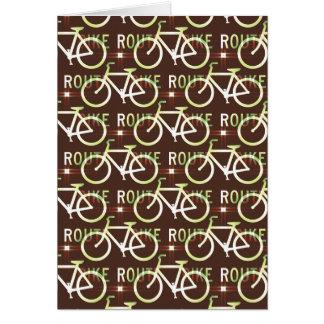 Fun Bike Route Fixie Bike Cyclist Pattern Greeting Card
