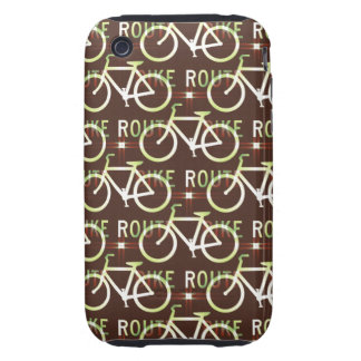 Fun Bike Route Fixie Bike Cyclist Pattern iPhone 3 Tough Covers