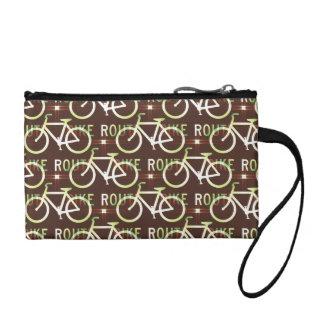Fun Bike Route Fixie Bike Cyclist Pattern Coin Purse