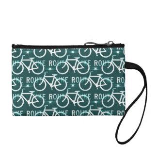 Fun Bike Route Fixie Bike Cyclist Pattern Coin Wallet