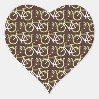Fun Bike Route Fixie Bike Cyclist Pattern Heart Sticker