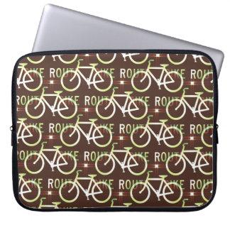 Fun Bike Route Fixie Bike Cyclist Pattern Laptop Sleeve
