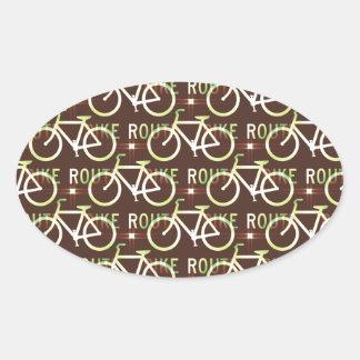 Fun Bike Route Fixie Bike Cyclist Pattern Oval Sticker