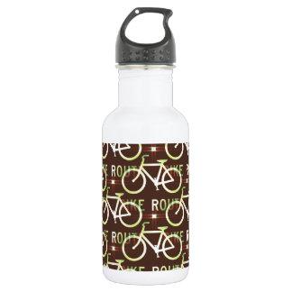 Fun Bike Route Fixie Bike Cyclist Pattern 18oz Water Bottle