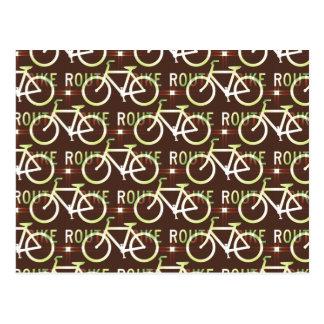 Fun Bike Route Fixie Bike Cyclist Pattern Post Cards