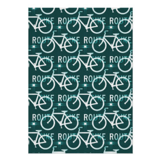 Fun Bike Route Fixie Bike Cyclist Pattern Posters