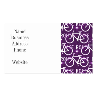 Fun Bike Route Fixie Bike Cyclist Pattern Purple Business Cards