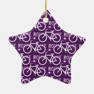 Fun Bike Route Fixie Bike Cyclist Pattern Purple Ceramic Star Ornament
