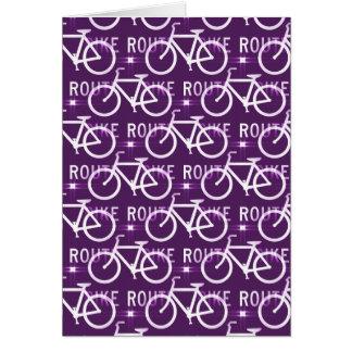Fun Bike Route Fixie Bike Cyclist Pattern Purple Greeting Card