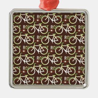 Fun Bike Route Fixie Bike Cyclist Pattern Silver-Colored Square Ornament