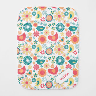 Fun Bird Floral burp cloth, girl baby shower gift Baby Burp Cloths