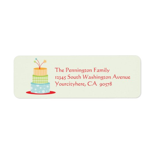 Fun birthday cake return address envelope labels
