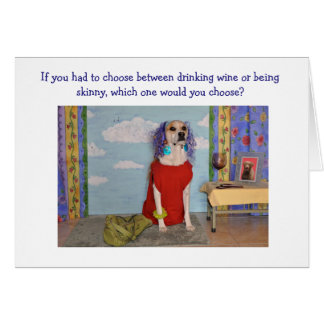 Fun birthday card for adult, a dog dressed as lady