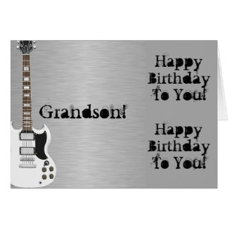 Fun, birthday greeting for grandson, white guitar. card
