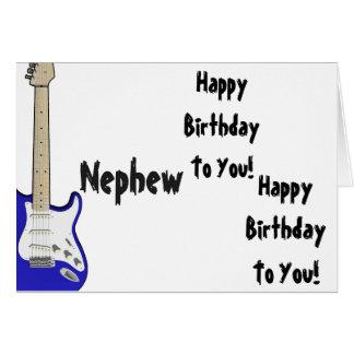 Fun, birthday greeting for nephew, blue guitar. card