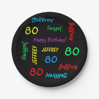 Fun Black, 80th Birthday Party, Repeating Names 7 Inch Paper Plate