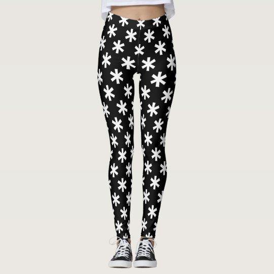 Fun Black and White Large Snowflakes Design Leggings