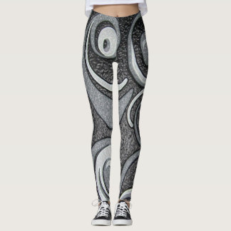 Fun black and white twirls and textures. leggings